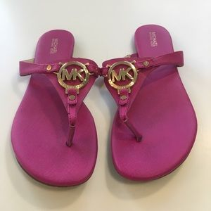 Michael Kors Sandals Logo Pink Fuschia